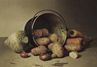 Vegetables in a worn brass pot