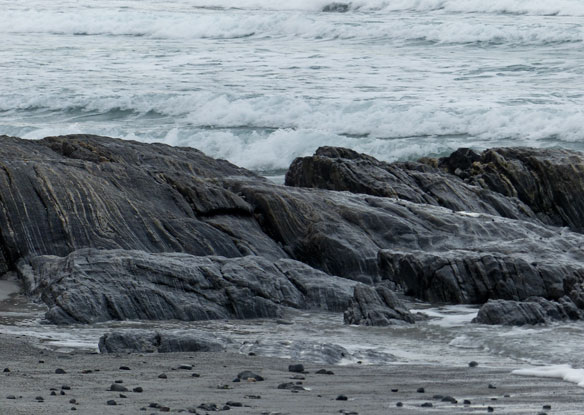 Banded Lewisian Gneiss on Ardivachar beach – 3000 million years old