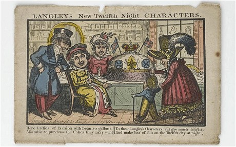 """Ladies of fashion"""" gather in a confectioner's shop to buy a Christmas cake, in an engraving published in 1818. Image: Geffrye Museum, London"""