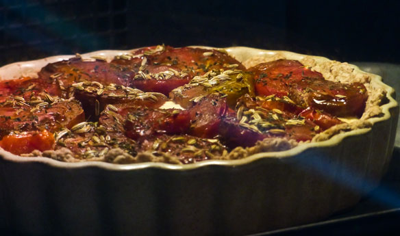 Tomato tart with a Crowdie filling and a pine nut crust