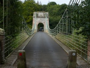 The Union Chain Bridge spans the River Tweed between Horncliffe, Northumberland, England and Fishwick, Borders, Scotland